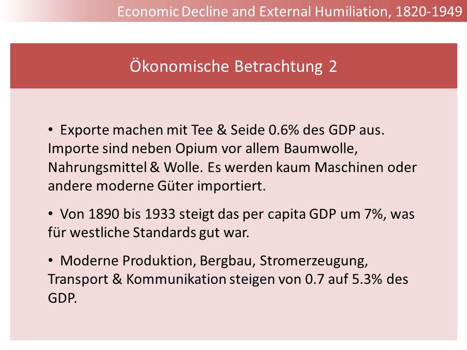 Exporte machen mit Tee & Seide 0.6% des GDP aus. Importe sind neben Opium vor allem Baumwolle, Nahrungsmittel & Wolle. Es werden kaum Maschinen oder a