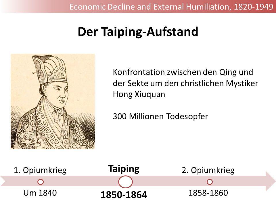 1. Opiumkrieg Um 1840 Taiping 1850-1864 2. Opiumkrieg 1858-1860 Der Taiping-Aufstand Konfrontation zwischen den Qing und der Sekte um den christlichen