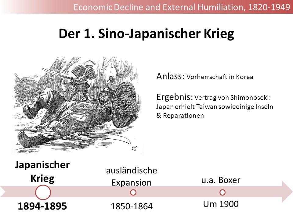 Japanischer Krieg 1894-1895 ausländische Expansion 1850-1864 u.a. Boxer Um 1900 Der 1. Sino-Japanischer Krieg Anlass: Vorherrschaft in Korea Ergebnis: