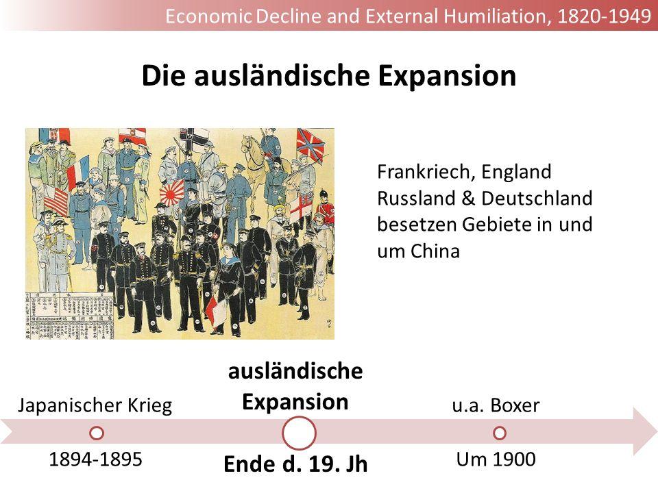 Japanischer Krieg 1894-1895 ausländische Expansion Ende d. 19. Jh u.a. Boxer Um 1900 Die ausländische Expansion Frankriech, England Russland & Deutsch