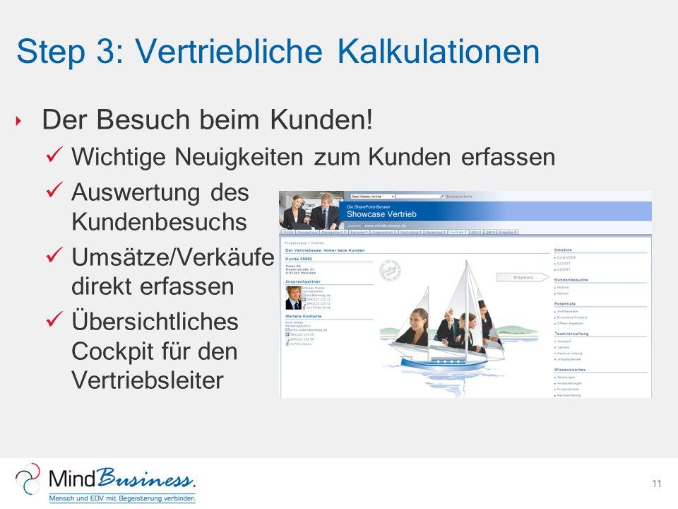 Step 3: Vertriebliche Kalkulationen Der Besuch beim Kunden! Wichtige Neuigkeiten zum Kunden erfassen Auswertung des Kundenbesuchs Umsätze/Verkäufe dir