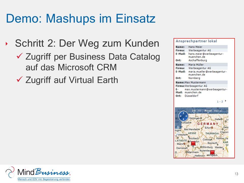 Demo: Mashups im Einsatz Schritt 2: Der Weg zum Kunden Zugriff per Business Data Catalog auf das Microsoft CRM Zugriff auf Virtual Earth 13