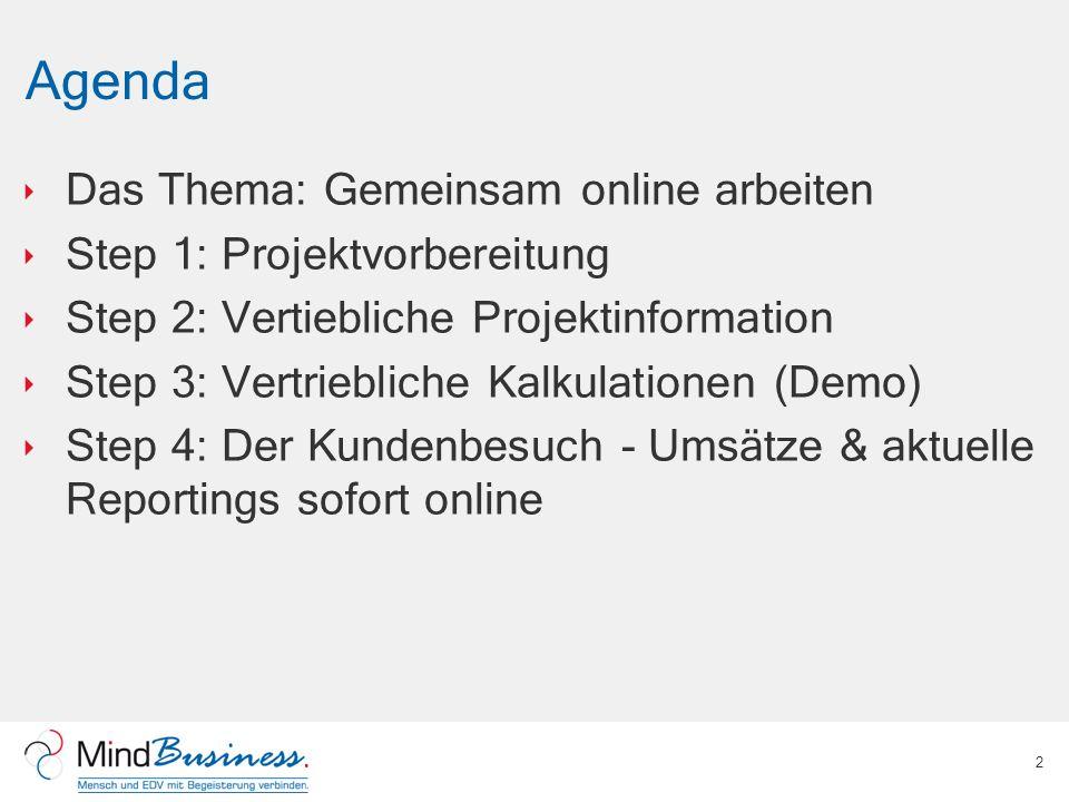 Agenda Das Thema: Gemeinsam online arbeiten Step 1: Projektvorbereitung Step 2: Vertiebliche Projektinformation Step 3: Vertriebliche Kalkulationen (D