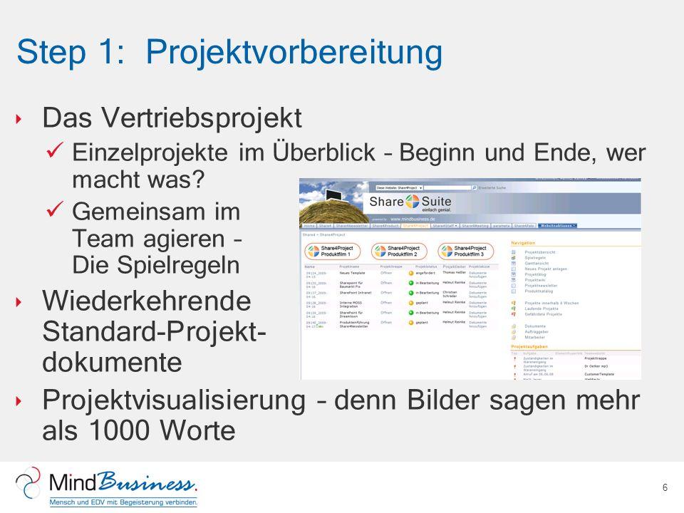 Step 1: Projektvorbereitung Das Vertriebsprojekt Einzelprojekte im Überblick – Beginn und Ende, wer macht was? Gemeinsam im Team agieren – Die Spielre