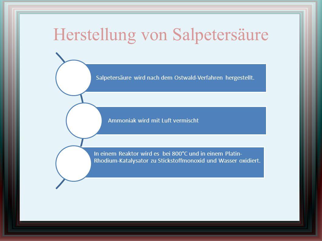 Herstellung von Salpetersäure Salpetersäure wird nach dem Ostwald-Verfahren hergestellt. Ammoniak wird mit Luft vermischt In einem Reaktor wird es bei
