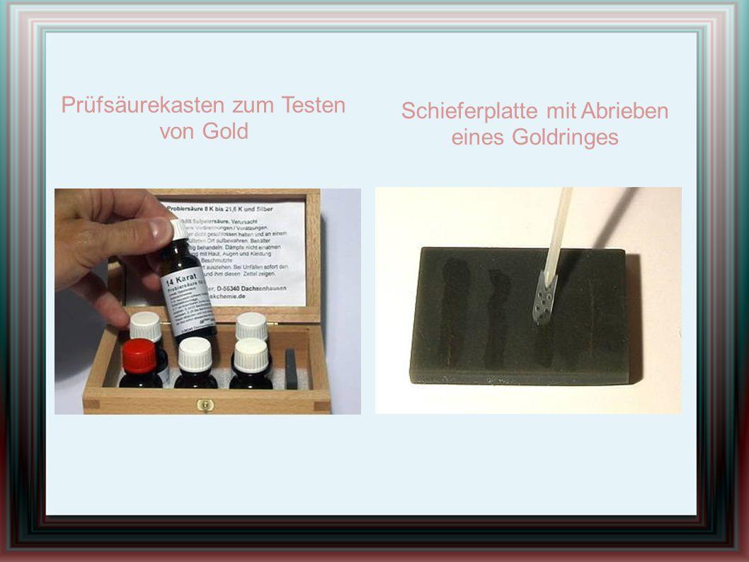 Schieferplatte mit Abrieben eines Goldringes Prüfsäurekasten zum Testen von Gold