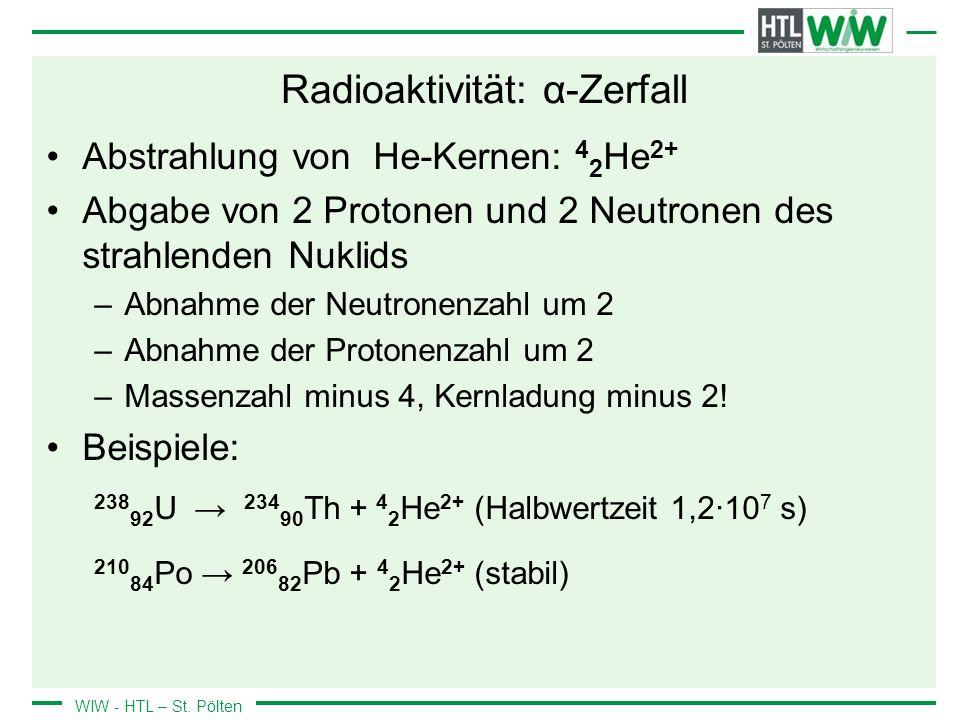 WIW - HTL – St. Pölten Radioaktivität: α-Zerfall Abstrahlung von He-Kernen: 4 2 He 2+ Abgabe von 2 Protonen und 2 Neutronen des strahlenden Nuklids –A