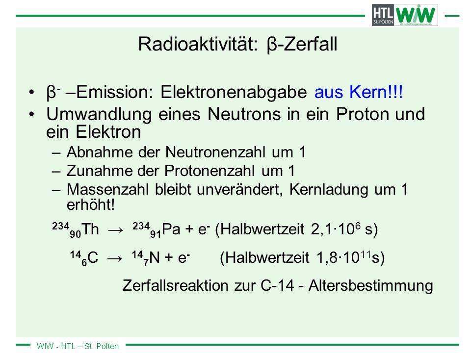 WIW - HTL – St. Pölten Radioaktivität: β-Zerfall β - –Emission: Elektronenabgabe aus Kern!!! Umwandlung eines Neutrons in ein Proton und ein Elektron