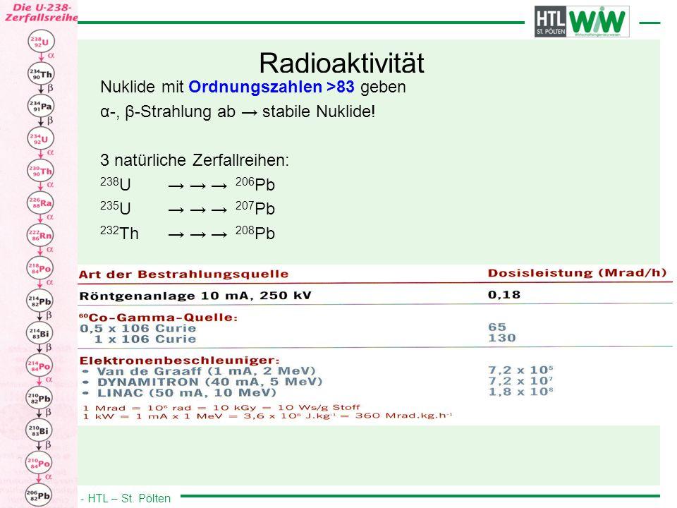 WIW - HTL – St. Pölten Radioaktivität Nuklide mit Ordnungszahlen >83 geben α-, β-Strahlung ab stabile Nuklide! 3 natürliche Zerfallreihen: 238 U 206 P