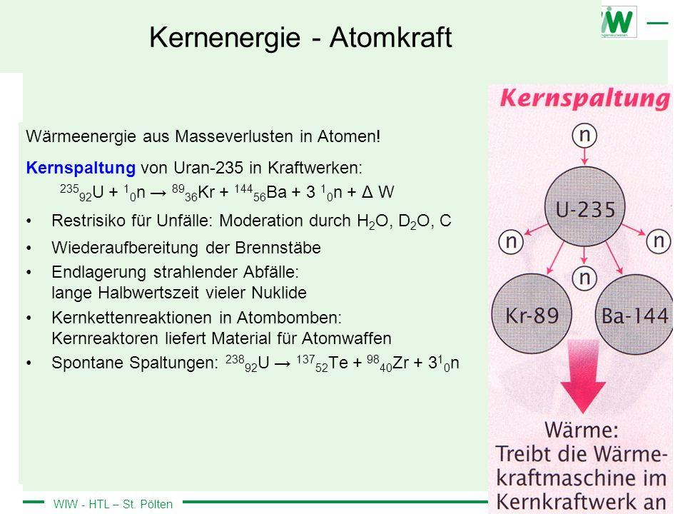 WIW - HTL – St. Pölten Kernenergie - Atomkraft Wärmeenergie aus Masseverlusten in Atomen! Kernspaltung von Uran-235 in Kraftwerken: 235 92 U + 1 0 n 8