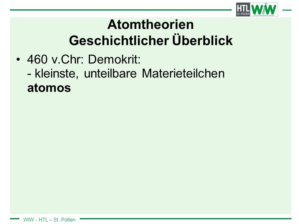 WIW - HTL – St. Pölten Atomtheorien Geschichtlicher Überblick 460 v.Chr: Demokrit: - kleinste, unteilbare Materieteilchen atomos