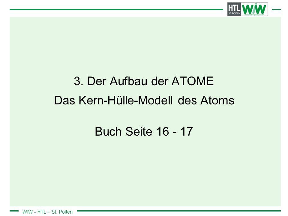 WIW - HTL – St. Pölten 3. Der Aufbau der ATOME Das Kern-Hülle-Modell des Atoms Buch Seite 16 - 17