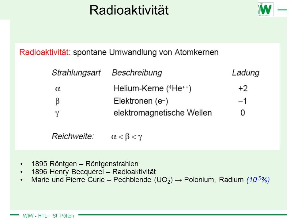 WIW - HTL – St. Pölten Radioaktivität 1895 Röntgen – Röntgenstrahlen 1896 Henry Becquerel – Radioaktivität Marie und Pierre Curie – Pechblende (UO 2 )