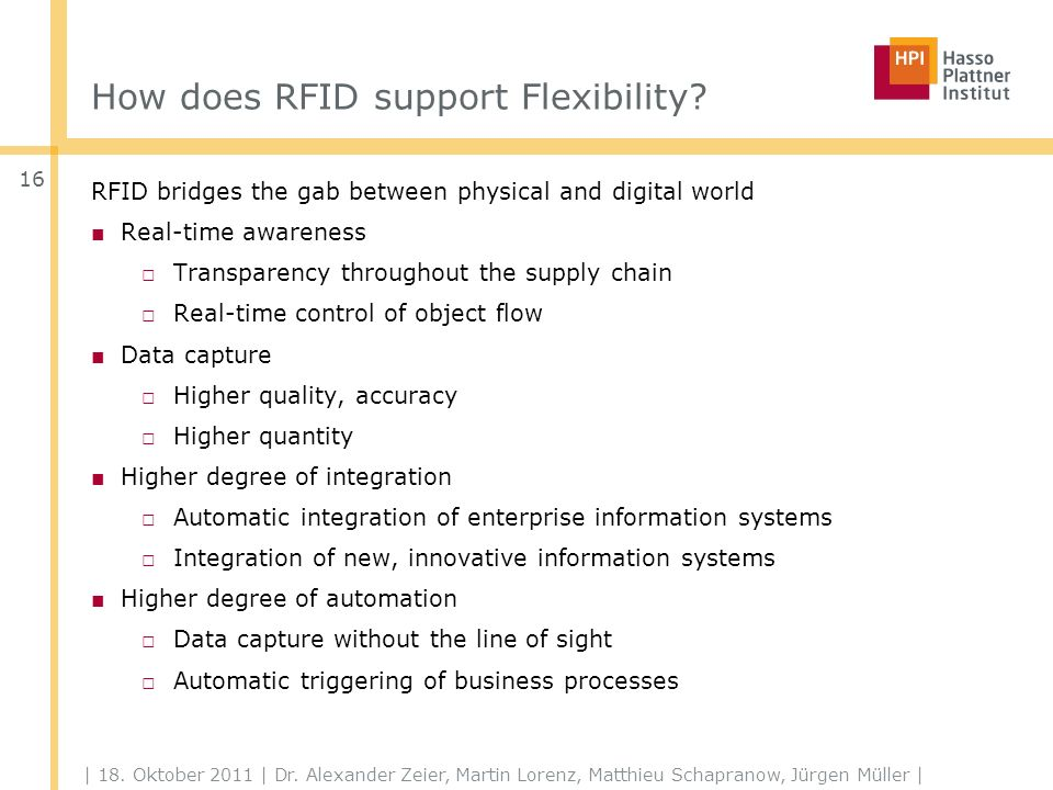 How does RFID support Flexibility. | 18. Oktober 2011 | Dr.