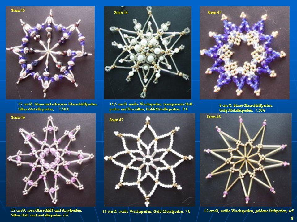 12 cm Ø, blaue und schwarze Glasschliffperlen, Silber-Metallicperlen, 7,50 14,5 cm Ø, weiße Wachsperlen, transparente Stift- perlen und Rocaillen, Gol