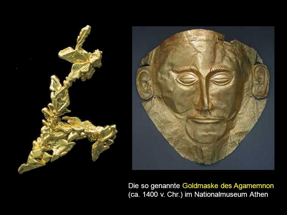 Die so genannte Goldmaske des Agamemnon (ca. 1400 v. Chr.) im Nationalmuseum Athen