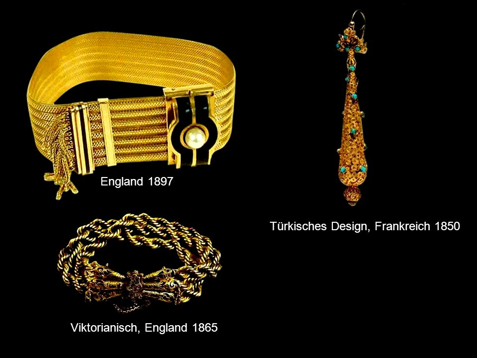 England 1897 Türkisches Design, Frankreich 1850 Viktorianisch, England 1865