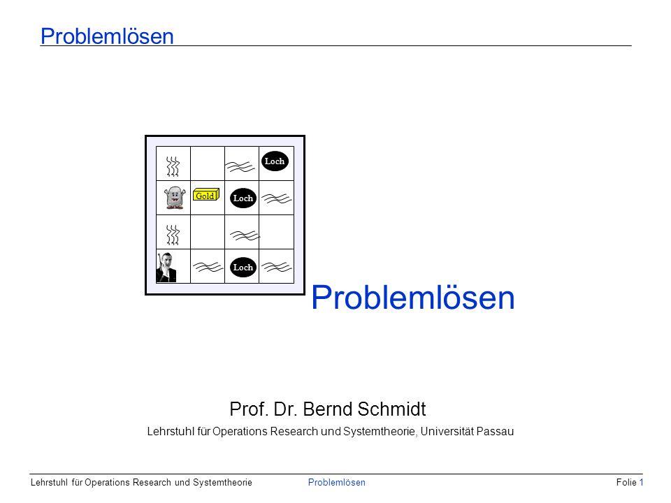 Lehrstuhl für Operations Research und SystemtheorieProblemlösenFolie 1 Problemlösen Gold Loch Prof.