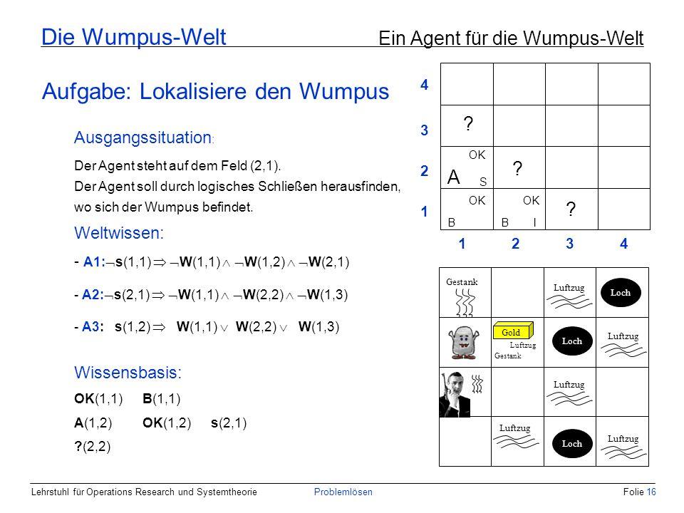 Lehrstuhl für Operations Research und SystemtheorieProblemlösenFolie 16 Die Wumpus-Welt Ein Agent für die Wumpus-Welt Aufgabe: Lokalisiere den Wumpus Weltwissen: - A1: s(1,1) W(1,1) W(1,2) W(2,1) - A2: s(2,1) W(1,1) W(2,2) W(1,3) - A3: s(1,2) W(1,1) W(2,2) W(1,3) Wissensbasis: OK(1,1)B(1,1) A(1,2)OK(1,2)s(2,1) ?(2,2) Ausgangssituation : Der Agent steht auf dem Feld (2,1).
