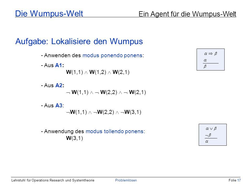 Lehrstuhl für Operations Research und SystemtheorieProblemlösenFolie 17 - Anwenden des modus ponendo ponens: - Aus A1: W(1,1) W(1,2) W(2,1) - Aus A2: W(1,1) W(2,2) W(2,1) - Aus A3: W(1,1) W(2,2) W(3,1) - Anwendung des modus tollendo ponens: W(3,1) Die Wumpus-Welt Ein Agent für die Wumpus-Welt Aufgabe: Lokalisiere den Wumpus