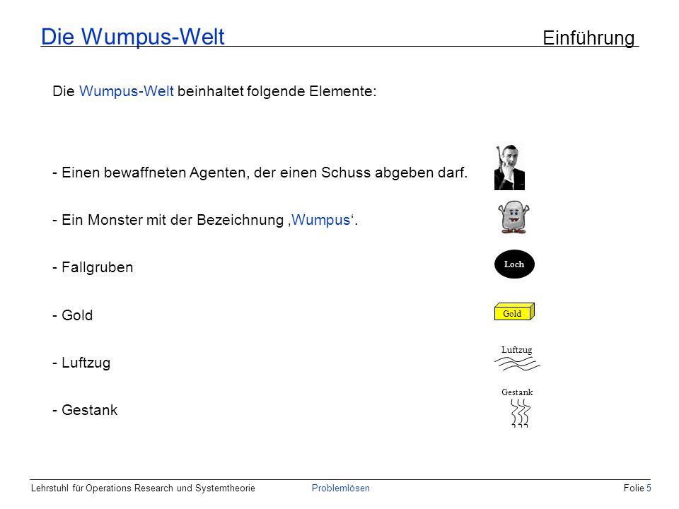 Lehrstuhl für Operations Research und SystemtheorieProblemlösenFolie 5 Die Wumpus-Welt Einführung Die Wumpus-Welt beinhaltet folgende Elemente: - Einen bewaffneten Agenten, der einen Schuss abgeben darf.