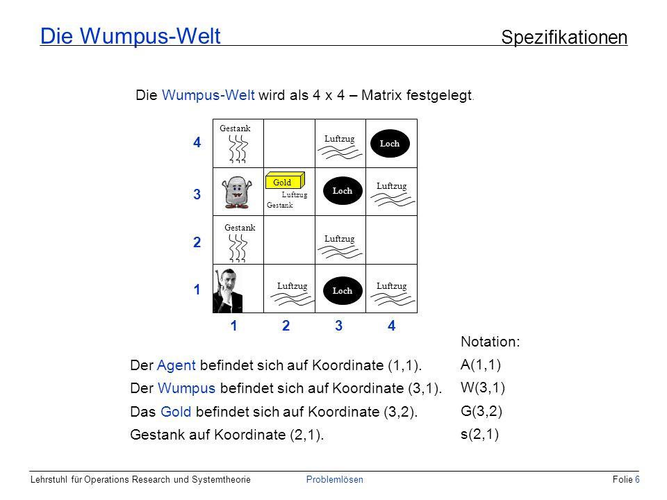 Lehrstuhl für Operations Research und SystemtheorieProblemlösenFolie 6 Die Wumpus-Welt wird als 4 x 4 – Matrix festgelegt.