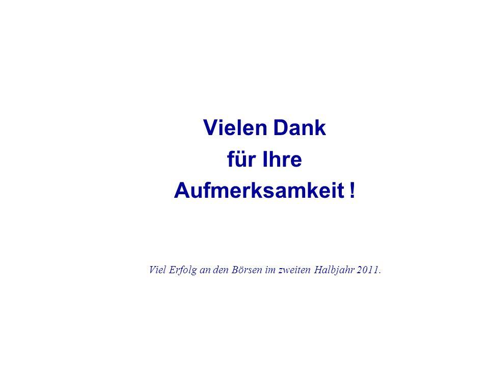 Vielen Dank für Ihre Aufmerksamkeit ! Viel Erfolg an den Börsen im zweiten Halbjahr 2011.