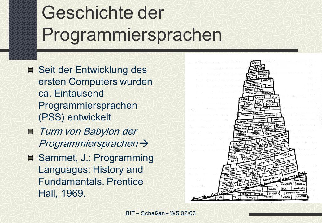 BIT – Schaßan – WS 02/03 Geschichte der Programmiersprachen Seit der Entwicklung des ersten Computers wurden ca. Eintausend Programmiersprachen (PSS)