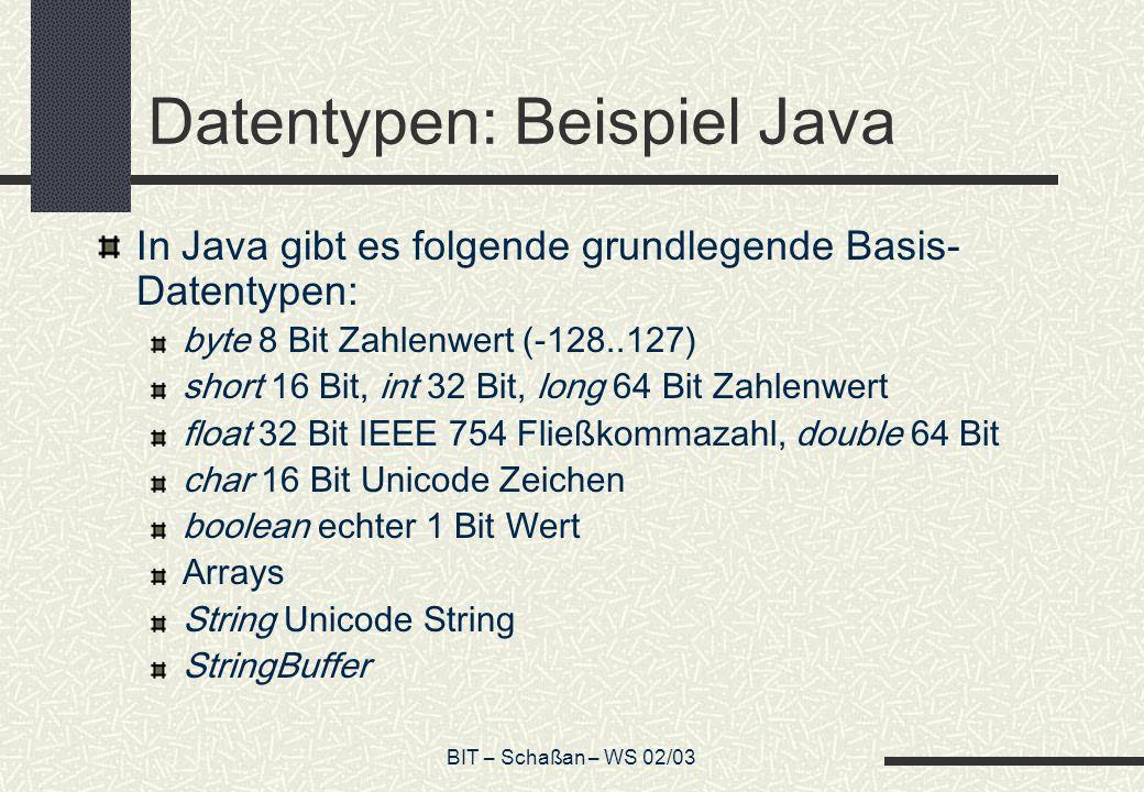BIT – Schaßan – WS 02/03 Datentypen: Beispiel Java In Java gibt es folgende grundlegende Basis- Datentypen: byte 8 Bit Zahlenwert (-128..127) short 16