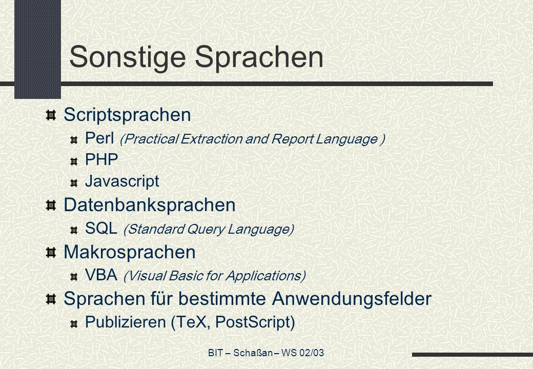 BIT – Schaßan – WS 02/03 Sonstige Sprachen Scriptsprachen Perl (Practical Extraction and Report Language ) PHP Javascript Datenbanksprachen SQL (Stand