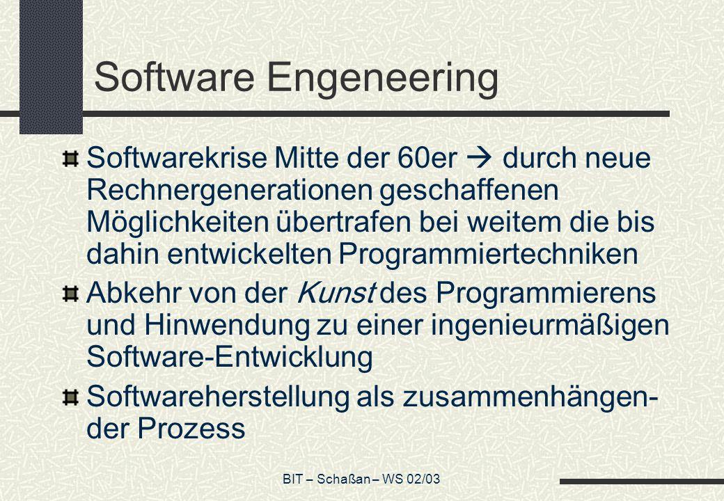 BIT – Schaßan – WS 02/03 Software Engeneering Softwarekrise Mitte der 60er durch neue Rechnergenerationen geschaffenen Möglichkeiten übertrafen bei we