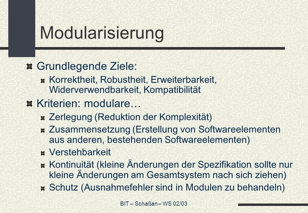 BIT – Schaßan – WS 02/03 Modularisierung Grundlegende Ziele: Korrektheit, Robustheit, Erweiterbarkeit, Widerverwendbarkeit, Kompatibilität Kriterien: