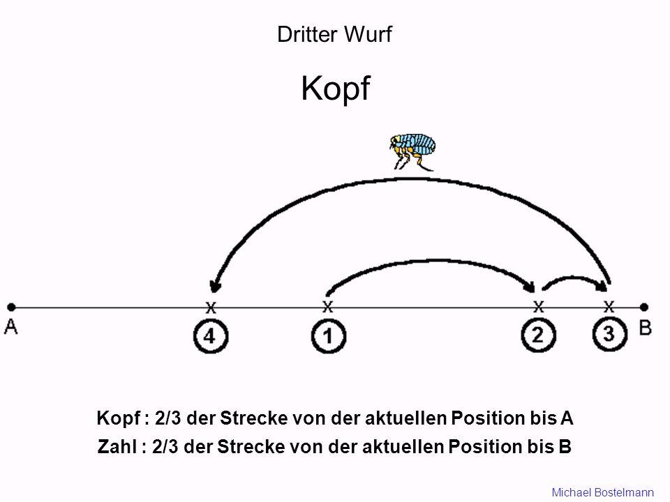 Dritter Wurf Kopf Kopf : 2/3 der Strecke von der aktuellen Position bis A Zahl : 2/3 der Strecke von der aktuellen Position bis B Michael Bostelmann