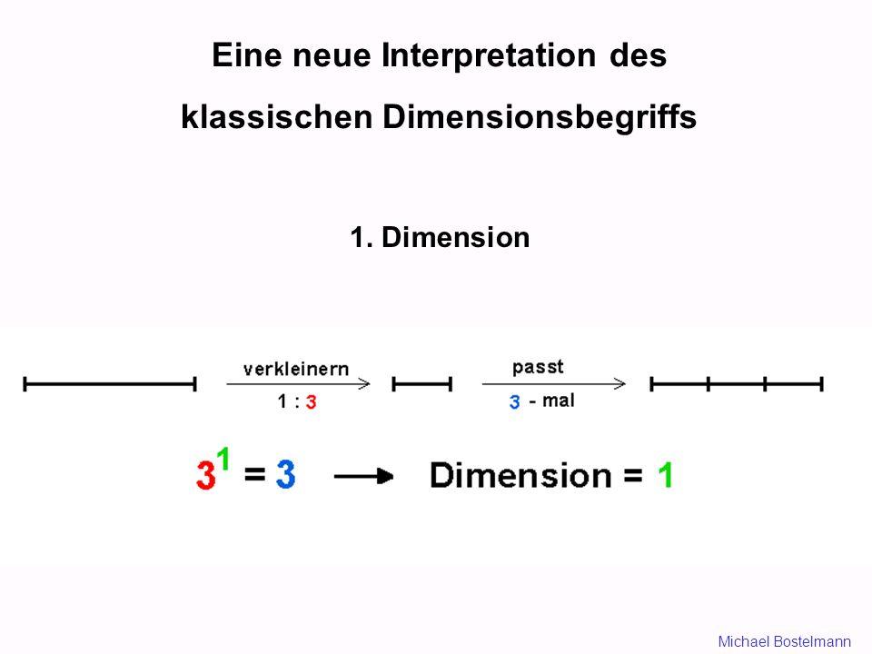 Eine neue Interpretation des klassischen Dimensionsbegriffs 1. Dimension Michael Bostelmann