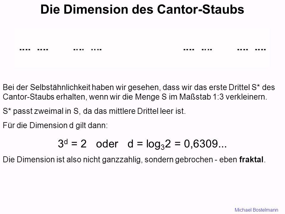 Die Dimension des Cantor-Staubs Bei der Selbstähnlichkeit haben wir gesehen, dass wir das erste Drittel S* des Cantor-Staubs erhalten, wenn wir die Menge S im Maßstab 1:3 verkleinern.