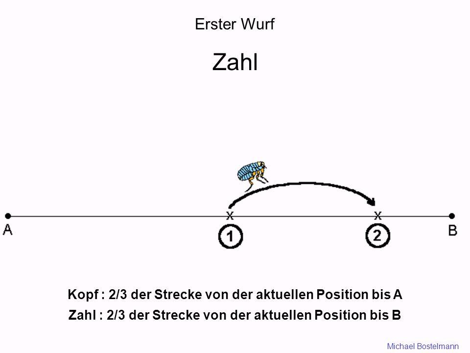 Erster Wurf Zahl Kopf : 2/3 der Strecke von der aktuellen Position bis A Zahl : 2/3 der Strecke von der aktuellen Position bis B Michael Bostelmann