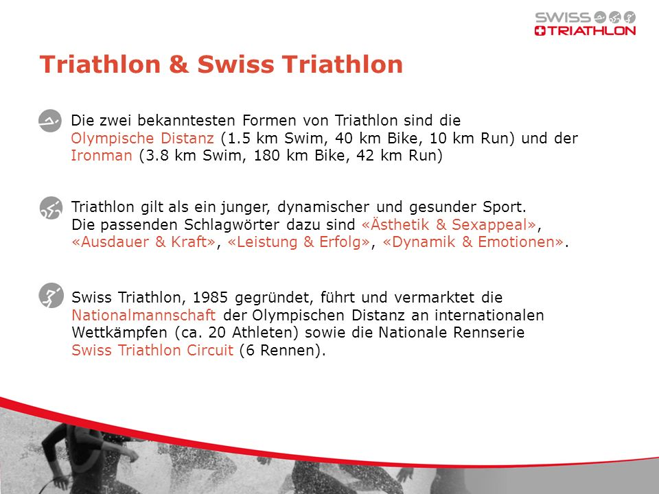 Paket SILBER – Details Logo auf Velokleidern Logo auf Reise- und Repräsentationskleidern Logo auf Autos Nationalcoaches Logo auf Website und Drucksachen Swiss Triathlon Logo auf Dress front top Bildrechte an Team und Athleten Recht Nennung «Leading-Partner Swiss Triathlon» Nutzungsrecht Logo Swiss Triathlon Gratisinserat Swiss Triathlon Magazin Hospitality Worldcup Lausanne & WM-Serie London Bookings Athleten, Nationalcoach, Präsident, Staff