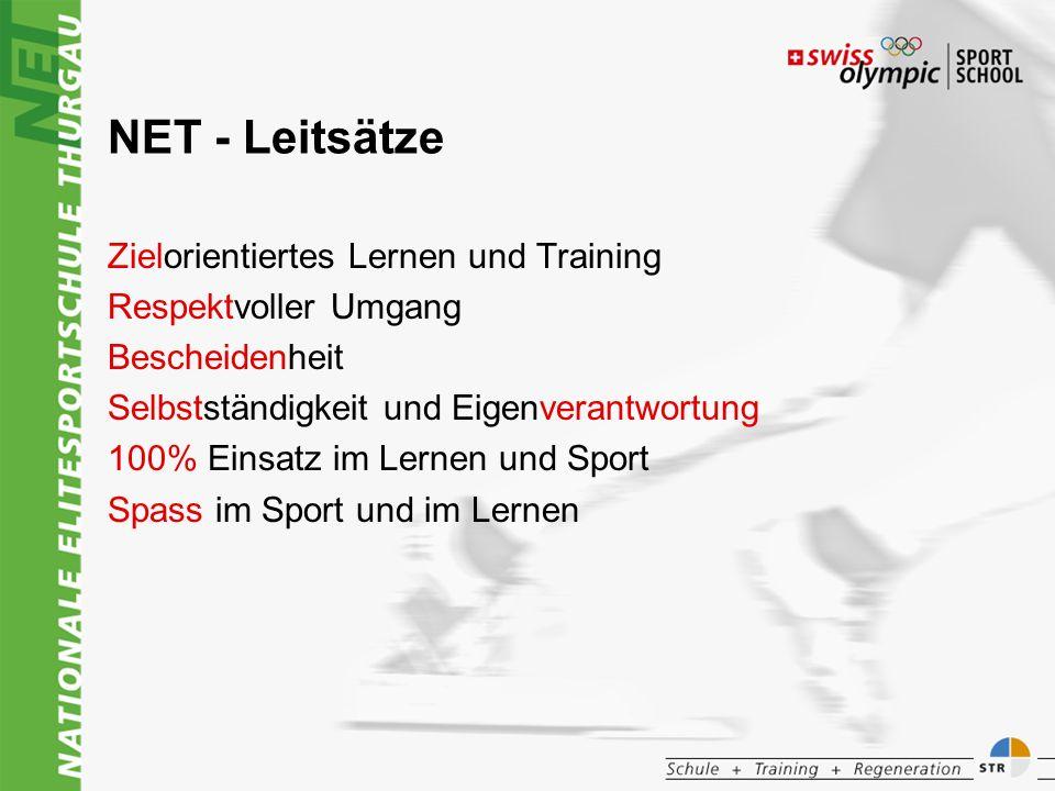 NET - Leitsätze Zielorientiertes Lernen und Training Respektvoller Umgang Bescheidenheit Selbstständigkeit und Eigenverantwortung 100% Einsatz im Lernen und Sport Spass im Sport und im Lernen