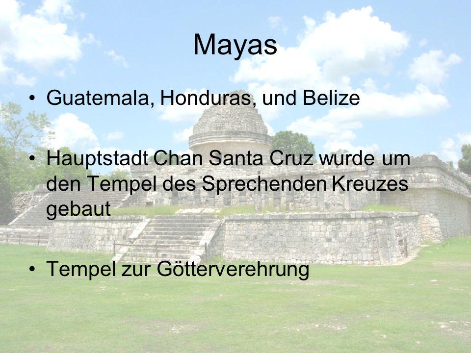 Mayas Guatemala, Honduras, und Belize Hauptstadt Chan Santa Cruz wurde um den Tempel des Sprechenden Kreuzes gebaut Tempel zur Götterverehrung