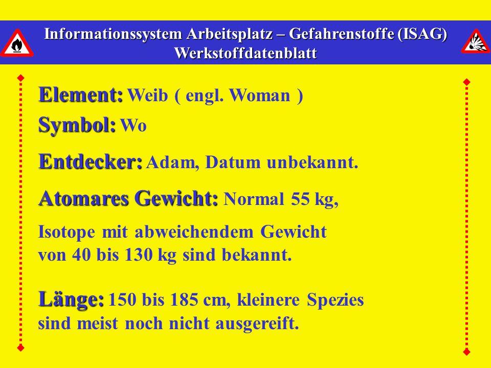Informationssystem Arbeitsplatz – Gefahrenstoffe (ISAG) Werkstoffdatenblatt Element: Element: Weib ( engl.