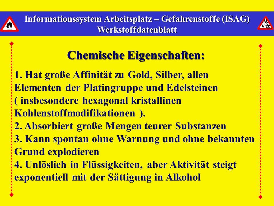 Informationssystem Arbeitsplatz – Gefahrenstoffe (ISAG) Werkstoffdatenblatt Chemische Eigenschaften: 1.