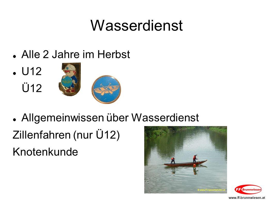Wasserdienst Alle 2 Jahre im Herbst U12 Ü12 Allgemeinwissen über Wasserdienst Zillenfahren (nur Ü12) Knotenkunde www.ff-brunnwiesen.at