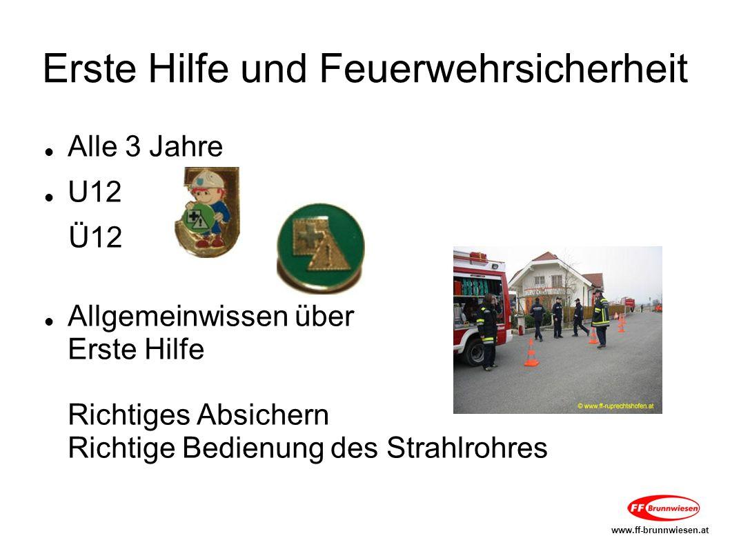 Erste Hilfe und Feuerwehrsicherheit Alle 3 Jahre U12 Ü12 Allgemeinwissen über Erste Hilfe Richtiges Absichern Richtige Bedienung des Strahlrohres www.ff-brunnwiesen.at