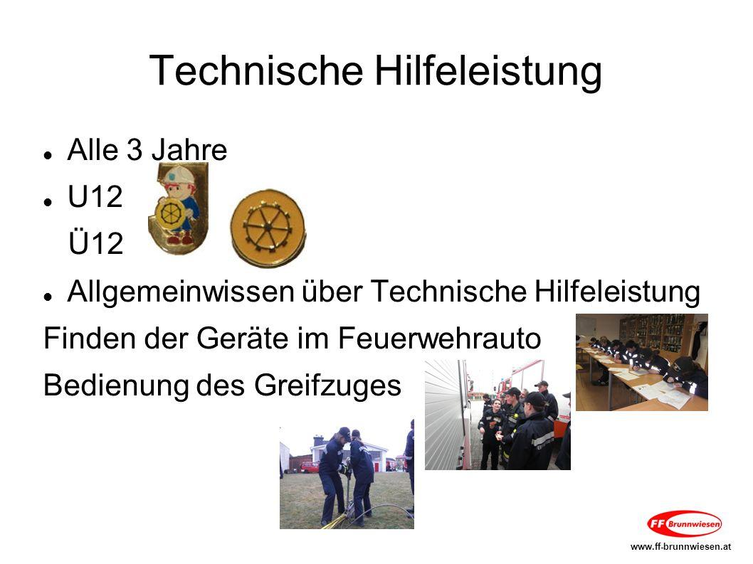 Technische Hilfeleistung Alle 3 Jahre U12 Ü12 Allgemeinwissen über Technische Hilfeleistung Finden der Geräte im Feuerwehrauto Bedienung des Greifzuges www.ff-brunnwiesen.at