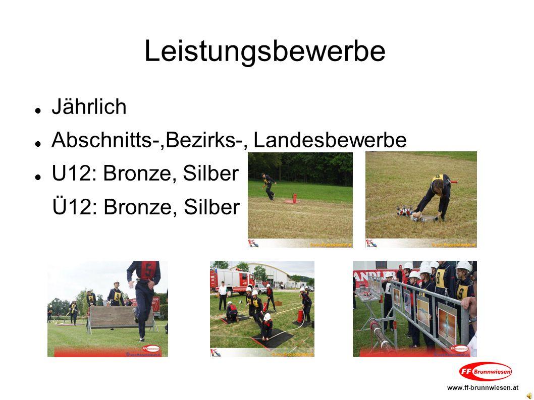 Leistungsbewerbe Jährlich Abschnitts-,Bezirks-, Landesbewerbe U12: Bronze, Silber Ü12: Bronze, Silber www.ff-brunnwiesen.at