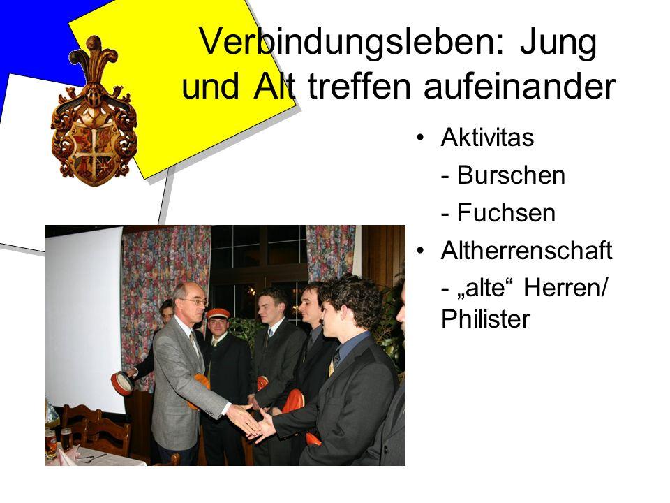Verbindungsleben: Jung und Alt treffen aufeinander Aktivitas - Burschen - Fuchsen Altherrenschaft - alte Herren/ Philister