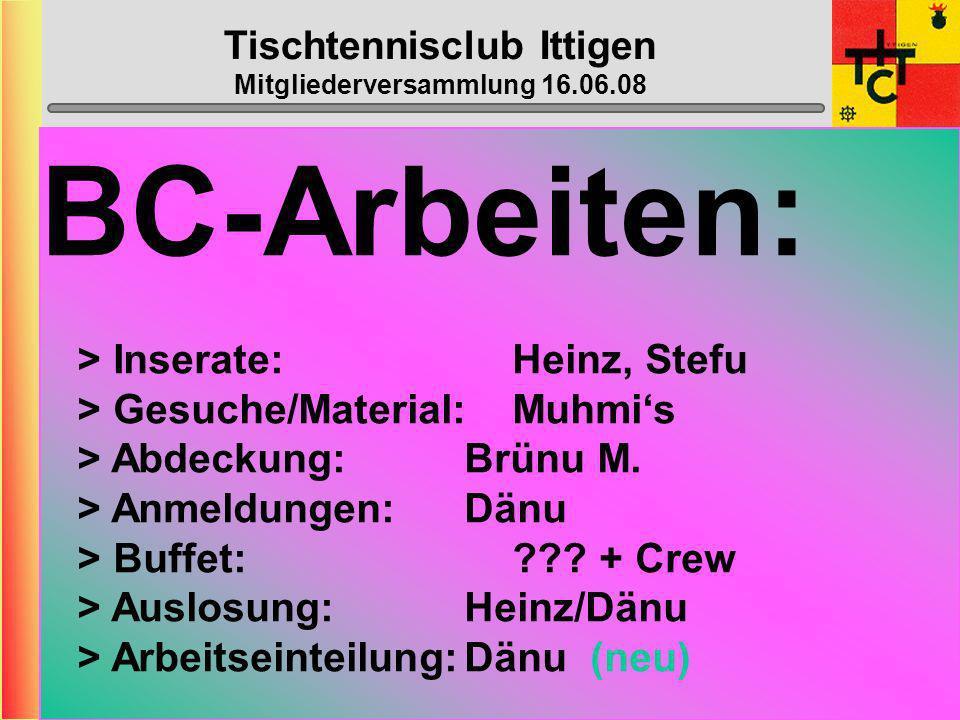 Tischtennisclub Ittigen Mitgliederversammlung 16.06.08 Wahl der übrigen Ämter Revisoren: Webmaster: Nachwuchs: Top-Spin: Bowling: Beat Franz + Iris Luder Dänu Luder ??.