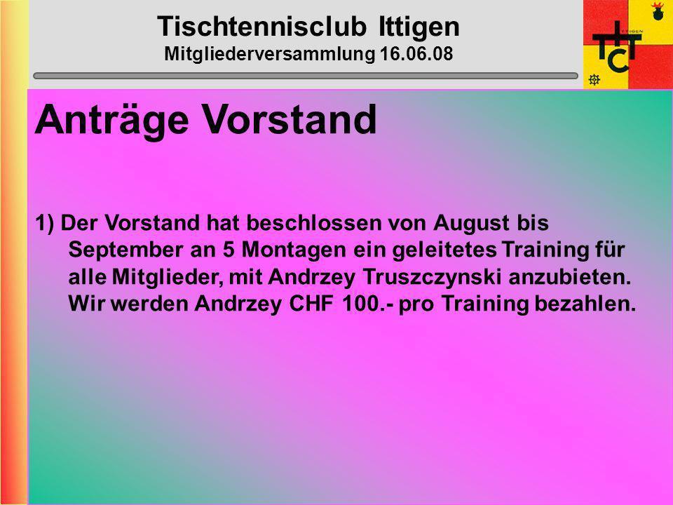 Tischtennisclub Ittigen Mitgliederversammlung 16.06.08 Klub- Meisterschaft Montag, 15.Dez. 2008