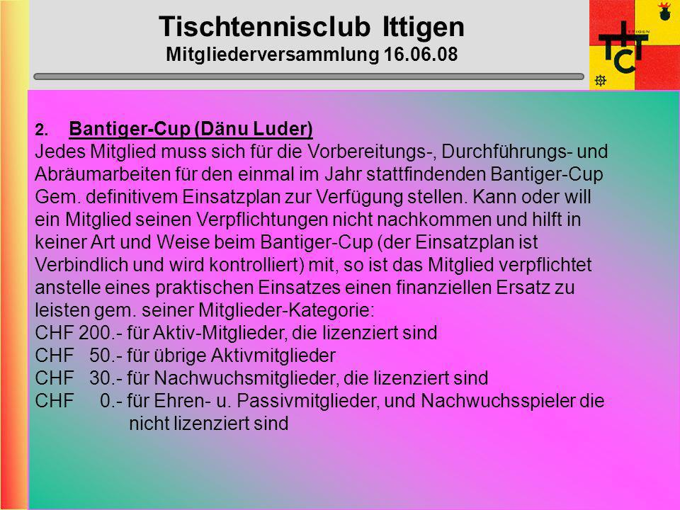 Tischtennisclub Ittigen Mitgliederversammlung 16.06.08 Anträge Mitglieder 1.