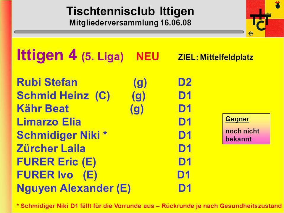 Tischtennisclub Ittigen Mitgliederversammlung 16.06.08 Ittigen 3 (4. Liga) ZIEL: Mittelfeldplatz Luder Daniel (g)C7 Lendzian Gehri (g) D5 Menzel Max-P